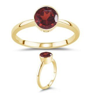 34 Cts Garnet Solitaire Ring in 18K Yellow Gold 5.5 Jewelry