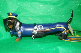 Hot Diggity K 9 Patrol Police Officer Cop Dachshund Dog Figurine