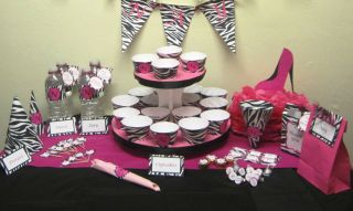 Deluxe Printable Party Decorations   Hot Pink Diva Zebra Theme / Sweet