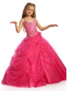 Hot Pink Little Girls Pageant Dress Flower Girl Dresses Wedding Dress
