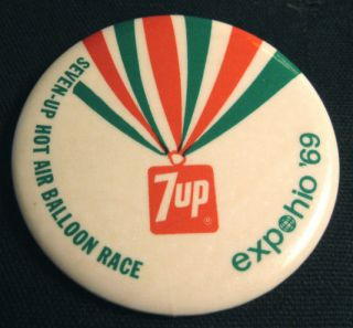 1969 Expohio Seven Up Hot Air Balloon Race Pin Pinback
