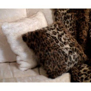 White Arctic Fox Faux Fur Pillow Cushion Cover with Brown