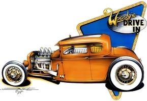 SS335 T Shirt Hot Rod Woodys Chop Top 5 Window Coupe