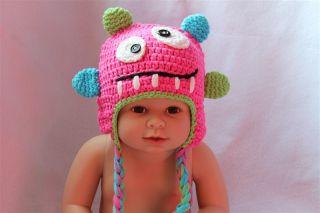 New Pink Green Monster Fantastic Animal Newborn Baby Child Knit Hat