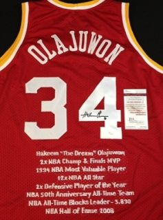 Hakeem Olajuwon Houston Rockets Autographed Stat Jersey JSA Authentic