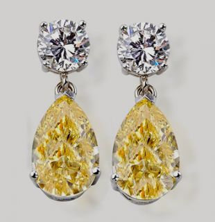 Yellow Canary Diamond 4 02 Carat Earring White Gold Earring Gorgeous