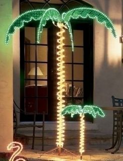 Tropical Lighted Holographic Rope Light Palm Tree