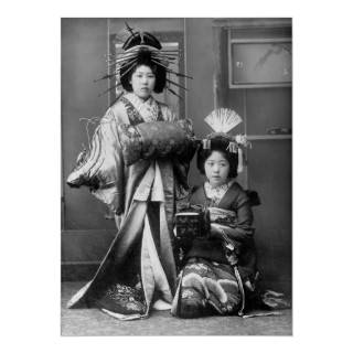 Japanese Geisha girls in traditional costume, early 1900s.