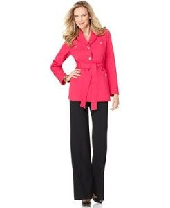 Kasper Pink Black Belted Jacket Wide Leg Pant Suit Petite Size 12P