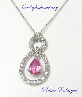 14k White Gold Diamonds Necklace with Pink Sapphire Total Gem Weight 0