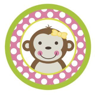 Mod Monkey Girl {Pink Polka Dots} Edible Cake Topper