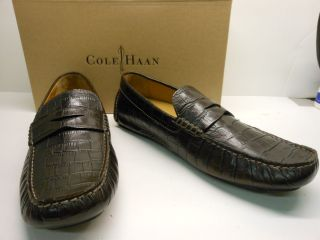 New Cole Haan Howland Brown Croc Print Penny Loafer Style Leather