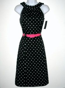 Jessica Howard Black White Polka Dot Dress w Pink Belt Size 14