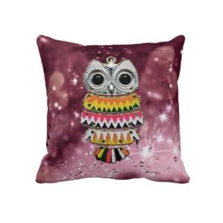 Cute Bling Owl With Colorful Zig Zag Pattern Pillows