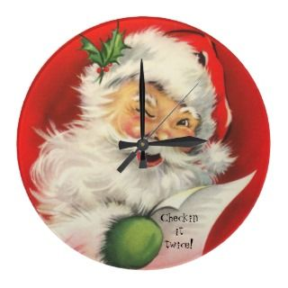Vintage Christmas Winking Jolly Santa Claus Round Clocks