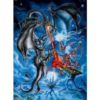 Glow in the Dark Blue Dragon Jigsaw Puzzle 100pc: Toys