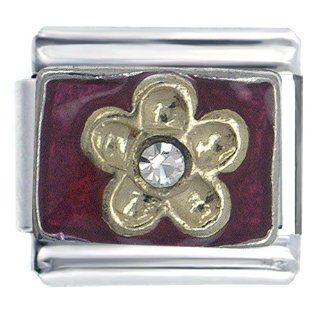 Pugster Golden Italian Charm Bracelet Flower Birthstones