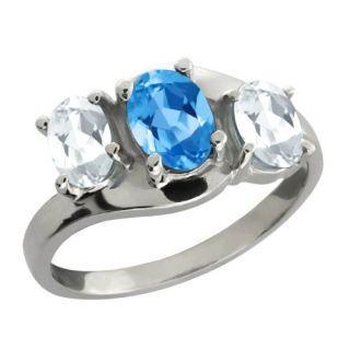 90 Ct Genuine Oval Swiss Blue Topaz Gemstone 18k White Gold Ring