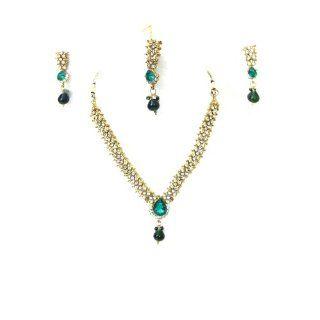 India Fashion Jewelry Green Stone Kundan Design Necklace Earrings Set