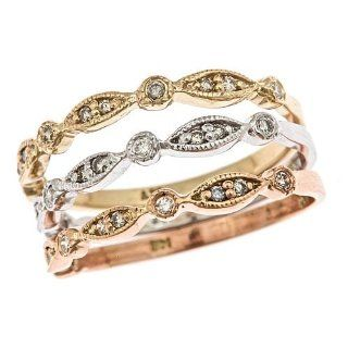 14k Tri Color Gold 3 Diamond Stackable Rings Set (1/3 Cttw, SI Clarity