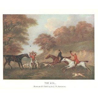 1902 Color Print English Fox Hunt The Kill by J N