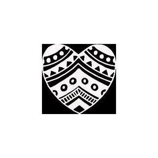 HRT (84) 6 white vinyl decal indian tribal design heart