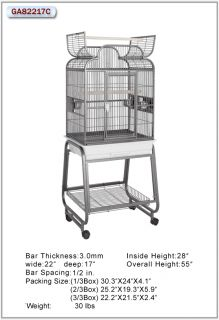 HQ Parrot Bird Cages 82217C Scroll Opening TOP22X17 with Cart Stand