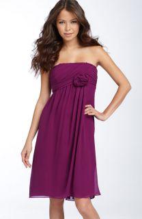 Suzi Chin Maggy Boutique Rosette Trim Silk Chiffon Dress 8 Purple Pink