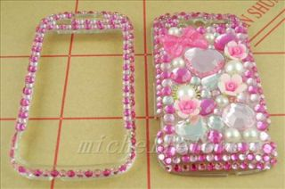 3D FLOWER RHINESTONE BLING FULL COVER CASE FOR HTC MyTouch 4G HM15
