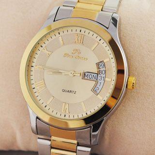 Mens Classic Quartz Wrist Watch Silver Golden Steel Band Calendar Gift