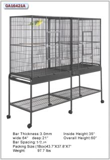 HQ Cages 16421 Parrot Bird Cages 64x21 Double Flight Cage Toy Toys