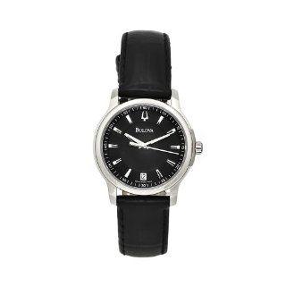 Bulova Womens 63M101 Black Leather Strap Black Dial Watch Watches