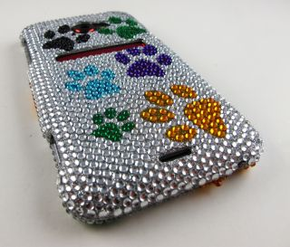 PAWS Rhinestone Bling Hard Case Cover HTC EVO 4G LTE Phone Accessory