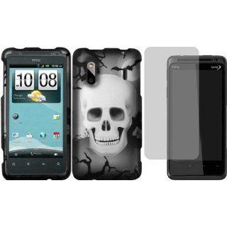 White Cross Skull Design Hard Case Cover+LCD Screen Protector for HTC