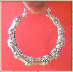 Big Silver Bamboo Hoop Earrings 3 7 5cm Diameter
