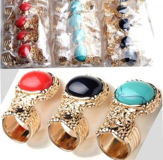 Oval Turquoise Big Stone Tone Finger Ring Jewellery Women Gift