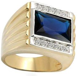Mens Huge Montana Blue Stone Gold Plated Ring New