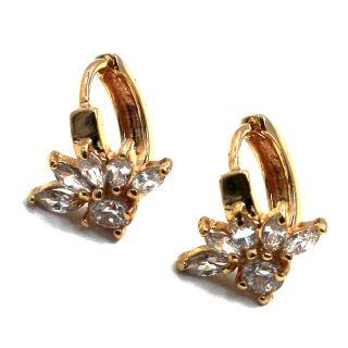 Gold 18K GF Earrings Small Hoop Huggie Flower CZ White Crystal 10mm