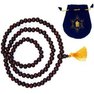 ROSEWOOD 108 MALA PRAYER BEADS ~ Buddhist Rosary w/ Golden