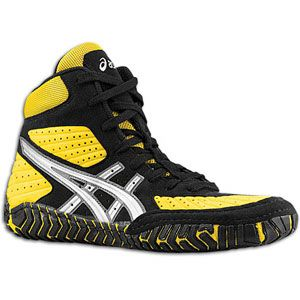 ASICS® Aggressor   Mens   Wrestling   Shoes   Yellow/Silver/Black