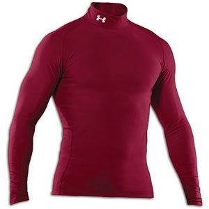 Under Armour Coldgear Game Day Compression Mock   Mens   Maroon/White