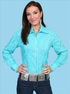 PSL 012 Scully Western Prairie Ruffle Snap Shirt Medium