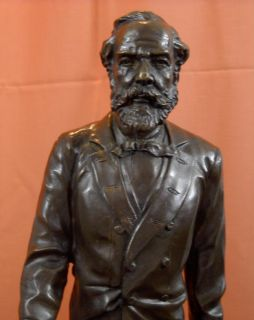Jules Verne Signed Bronze Statue Science Fiction Author Twenty