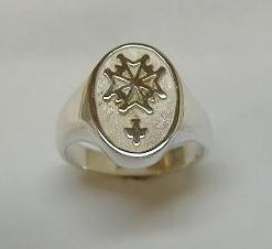 Silver Gents Huguenot Cross Ring