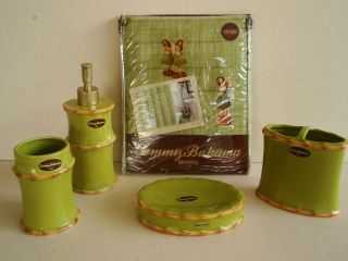 Rim Lime Ceramic Bath Set Hula Dancer Shower Curtain 5pc