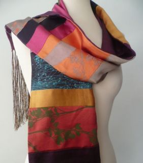 Clarissa Hulse Pure Silk Hand Printed Floral Bright Panel Scarf BN
