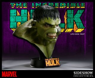 Hulk Sideshow Life Sized 1 1 Bust Marvel Statue Replica