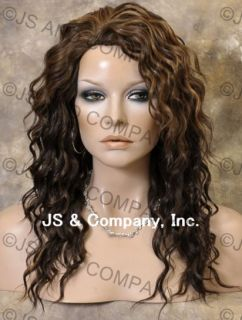 Human Hair Blend Long Wavy Brown Blonde Mix Wig Amazing