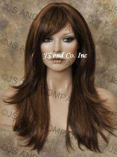 Human Hair Blend Wig Long Straight Wms Brown Auburn Mix