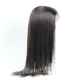 Indian Remy Human Hair Wigs Yaki Straight 1B Full Lace Front Lace Wig